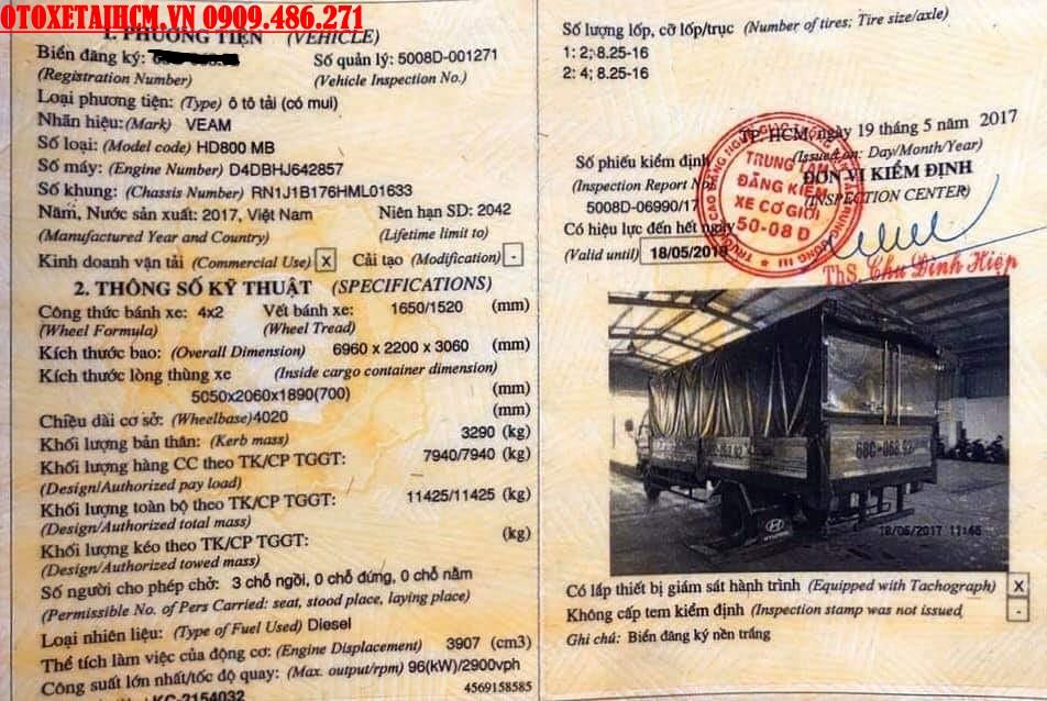 sổ đăng kiểm xe tải 8 tấn cũ