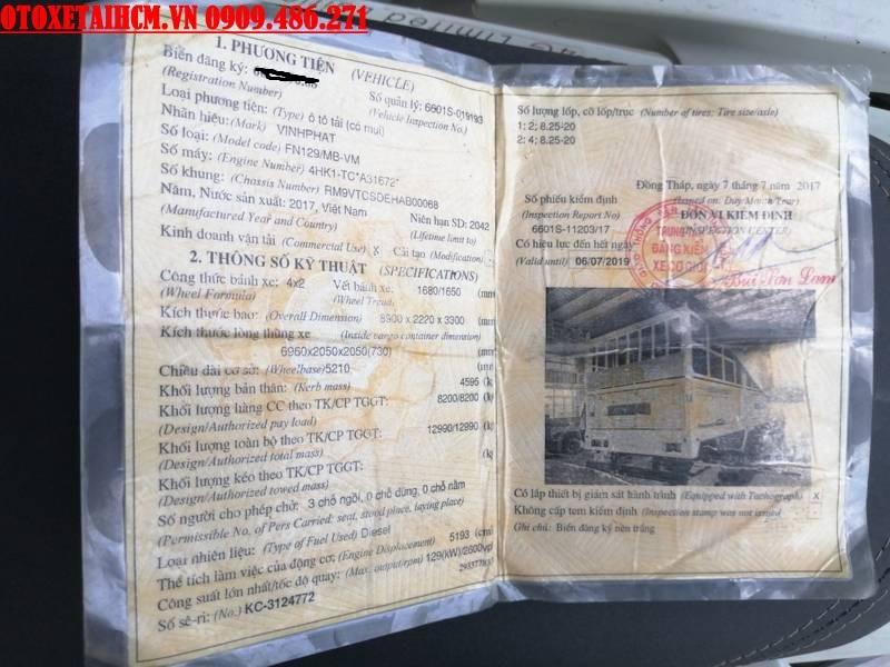 sổ đăng kiểm xe isuzu vĩnh phát 8.2 tấn cũ