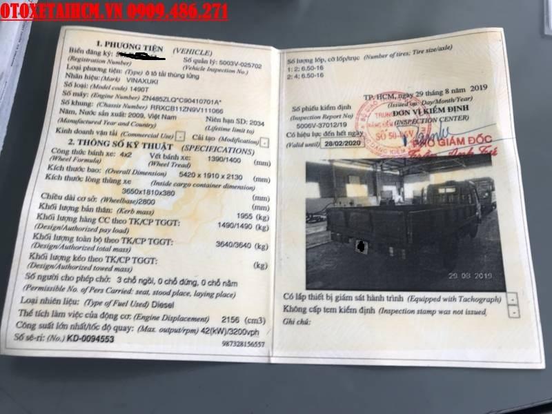 sổ đăng kiểm xe vinaxuki 1.5 tấn cũ