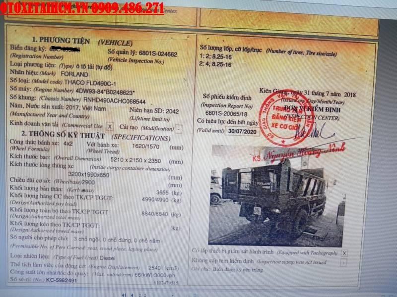 sổ đăng kiểm xe ben thaco
